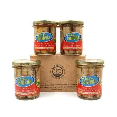 Pack de 4 tarros de cristal La Tarifeña filetes de caballa
