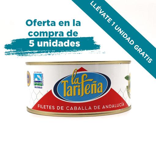 5 unidades latas filetes de caballa de Andalucía 975 grs, aceite de oliva